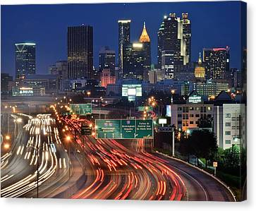 Atlanta Heavy Traffic Canvas Print by Frozen in Time Fine Art Photography