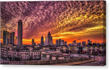 Atlanta Midtown Atlantic Station Sunrise Canvas Print by Reid Callaway