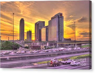Atlanta Midtown Atlantic Station Sunset Canvas Print by Reid Callaway