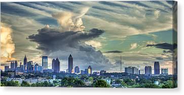 Atlanta Skyline Cloud Panorama Canvas Print by Reid Callaway