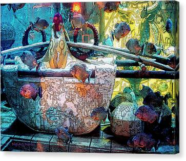Atlantis Aquarium In Watercolor Canvas Print by DigiArt Diaries by Vicky B Fuller