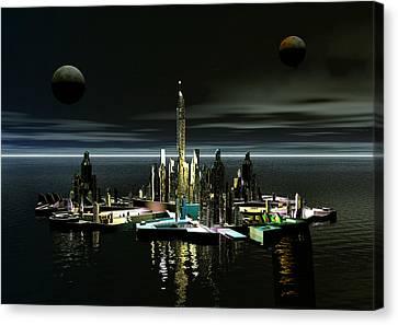 Atlantis By Night Canvas Print by Joseph Soiza