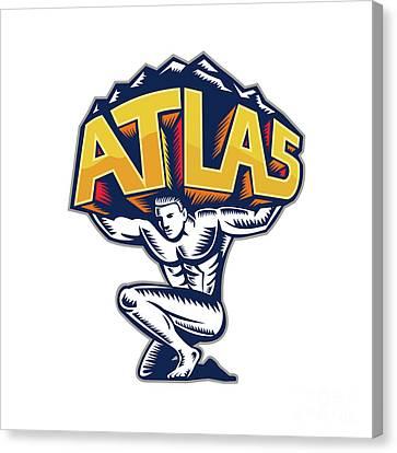 Atlas Lifting Mountain Kneeling Woodcut Canvas Print by Aloysius Patrimonio