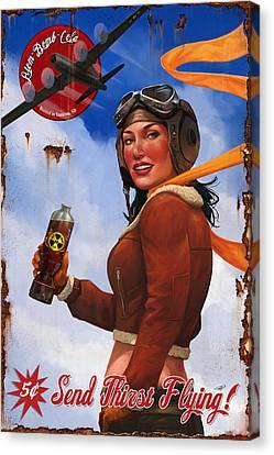 Atom Bomb Cola Send Thirst Flying Canvas Print by Steve Goad