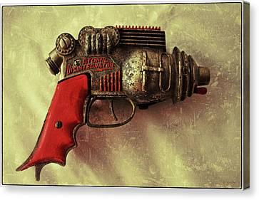 Atomic Disentigrator Ray Gun Steampunk Relic With Border Canvas Print by Tony Grider