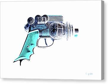 Atomic Ray Gun Digital Pop Negative Canvas Print by Tony Grider