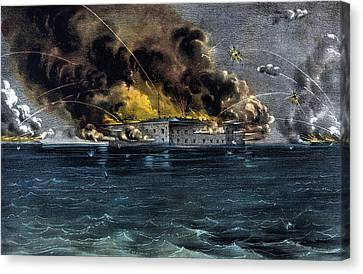 Attack On Fort Sumter Canvas Print by War Is Hell Store