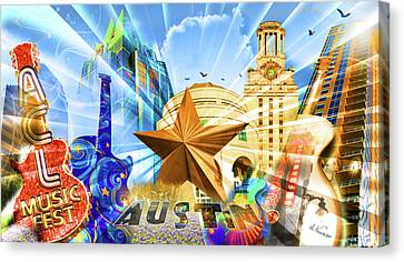 Atx Montage Canvas Print by Andrew Nourse