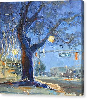Auburn Toomer's Corner - Part Of College Series Canvas Print by Karen Mayer Johnston