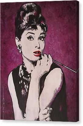 Audrey Hepburn - Breakfast Canvas Print by Eric Dee