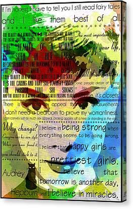 Audrey Hepburn Motivational Inspirational Independent Quotes 1 Canvas Print by Diana Van