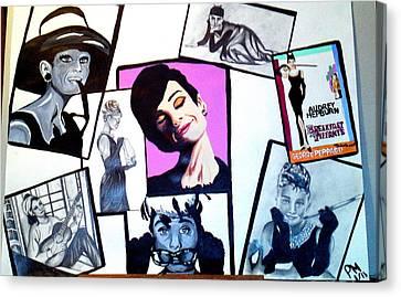 Audrey Hepburn Snapshots Canvas Print by Pauline Murphy