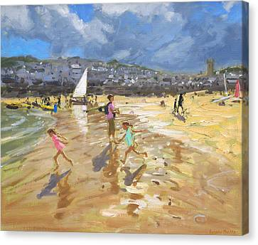 August In St Ives Canvas Print by Andrew Macara