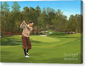 Augusta 11 And 12th Hole Bobbyjones Canvas Print by Tim Gilliland