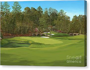 Augusta 11 And12th Hole Canvas Print by Tim Gilliland