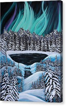 Aurora's Fiery Display Canvas Print by Barbara Griffin