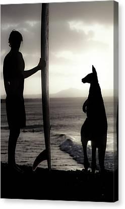 Aussie Surf Silhouettes Canvas Print by Sean Davey