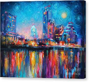 Austin Art Impressionistic Skyline Painting #2 Canvas Print by Svetlana Novikova