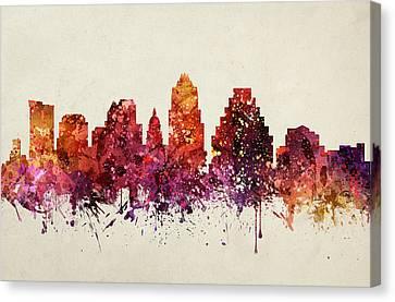 Austin Cityscape 09 Canvas Print by Aged Pixel