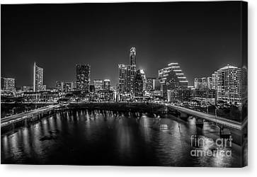 Austin Cityscape Black And White Canvas Print by Tod and Cynthia Grubbs
