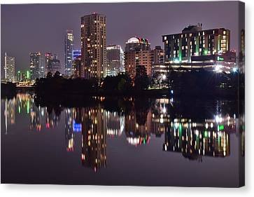 Austin Lights Up Lady Bird Lake Canvas Print by Frozen in Time Fine Art Photography