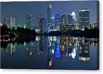 Austin Night Reflection Canvas Print by Frozen in Time Fine Art Photography