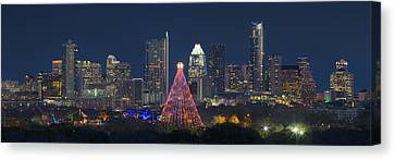 Austin Panorama Of The Trail Of Lights And Skyline Canvas Print by Rob Greebon
