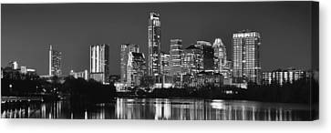 Austin Skyline At Night Black And White Bw Panorama Texas Canvas Print by Jon Holiday