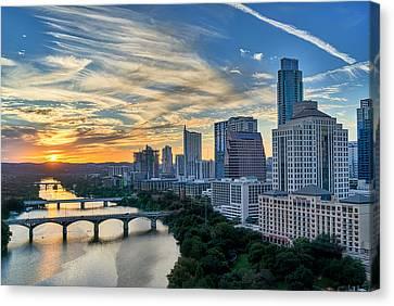 Austin View Down Town Lake  Canvas Print by Tod and Cynthia Grubbs