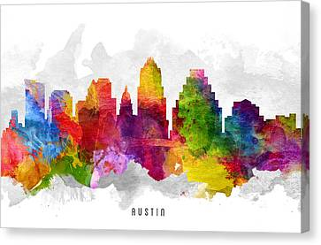 Austin Texas Cityscape 13 Canvas Print by Aged Pixel