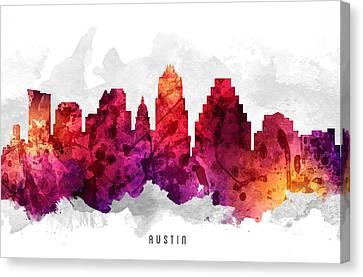 Austin Texas Cityscape 14 Canvas Print by Aged Pixel