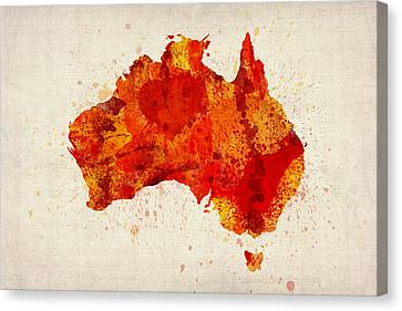 Australia Watercolor Map Art Print Canvas Print by Michael Tompsett