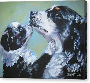 Australian Shepherd Mom And Pup Canvas Print by Lee Ann Shepard