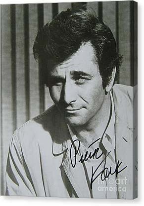 Autographed Photo Of Peter Falk As Columbo Canvas Print by Pd