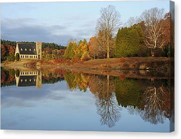 Autumn At The Old Stone Church Canvas Print by Luke Moore