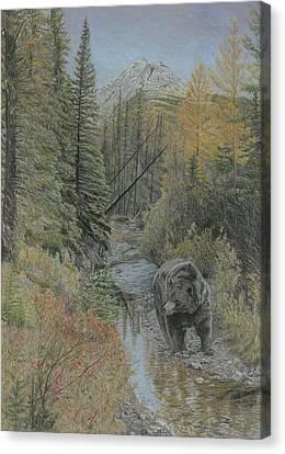 Autumn Bear Romp Canvas Print by Laura Klassen