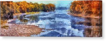 Autumn By The River Canvas Print by Thomas Woolworth