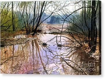 Autumn Creek Canvas Print by Sergey Zhiboedov