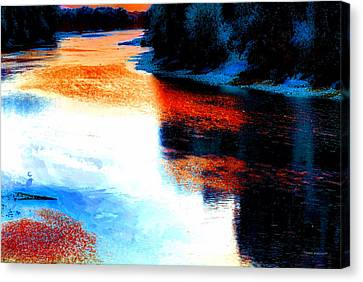 Autumn Down By The River Canvas Print by Thomas Woolworth