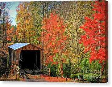 Autumn Elder Mill Covered Bridge Canvas Print by Reid Callaway