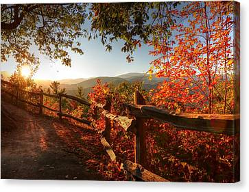 Autumn Landscape From Cataloochee In The Great Smoky Mountains National Park Canvas Print by Carol R Montoya