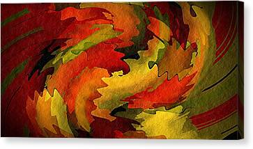 Canvas Print featuring the digital art Autumn Leaves by Terry Mulligan