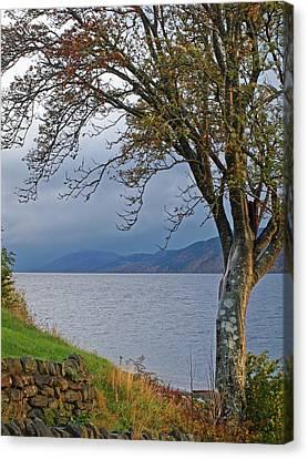 Autumn Mist On Loch Ness Canvas Print by Gill Billington