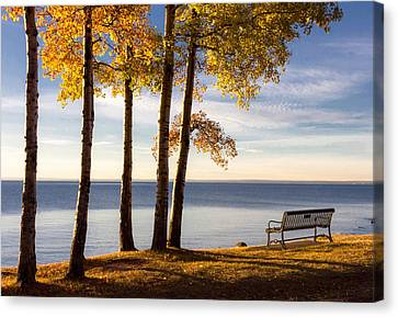 Autumn Morn On The Lake Canvas Print by Mary Amerman