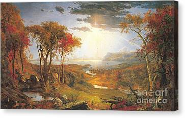 Autumn On The Hudson Rive Canvas Print by Celestial Images