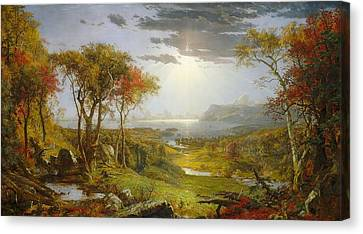 Autumn On The Hudson River  Canvas Print by Jasper Francis Cropsey
