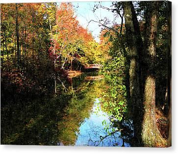 Autumn Park With Bridge Canvas Print by Susan Savad