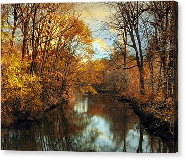 Autumn River Lights Canvas Print by Jessica Jenney