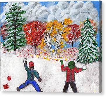 Autumn Snow Canvas Print by Lisa Hinshaw