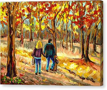 Autumn  Stroll On Mount Royal Canvas Print by Carole Spandau